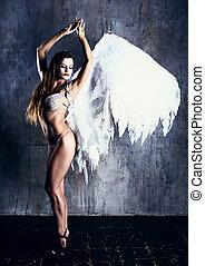 wzór, biały anioł, skrzydełka, chodząc