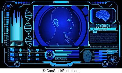 wzór, medyczny, ludzki, cyfrowy, dna, przedstawienie, więcej, obracający, błękitny osłaniają, odcisk palca, kolor, futurystyczny, wystawa, hud, wliczając w to, mózg, głowa, 3d, skandować