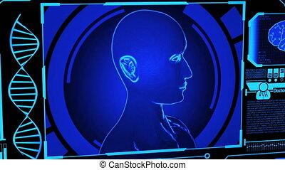 wzór, medyczny, ludzki, cyfrowy, dna, przedstawienie, więcej, obracający, błękitny osłaniają, odcisk palca, panning), kolor, (camera, futurystyczny, wystawa, hud, wliczając w to, mózg, głowa, 3d, skandować