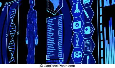 wzór, medyczny, ludzki, cyfrowy, zestawy, przedstawienie, więcej, obracający, błękitny osłaniają, panning), kolor, (camera, futurystyczny, wystawa, hud, serce, wliczając w to, ikona, mózg, 3d, skandować, machać