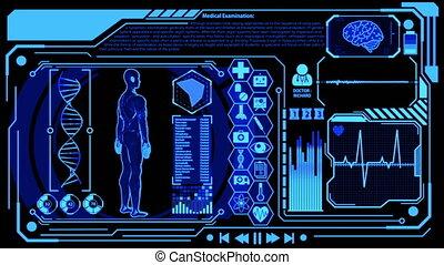wzór, medyczny, ludzki, cyfrowy, zestawy, przedstawienie, więcej, obracający, błękitny osłaniają, kolor, futurystyczny, wystawa, hud, serce, wliczając w to, ikona, mózg, 3d, skandować, machać