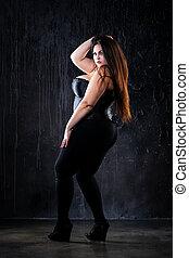 wzór, odzież, pojęcie, sexy, czarnoskóry, tłuszcz, tło,...