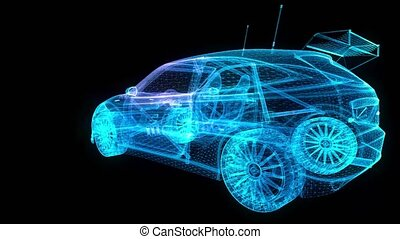wzór, samochód, wireframe, trójkąt, 3d, ruch, ożywiony, formacja, zawiązywanie, wóz., motorsport