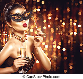 wzór, sexy, maskarada, szampan, wenecka maska, kobieta,...