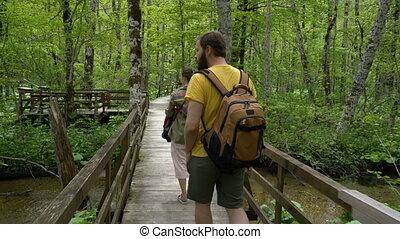 wzdłuż, ścieżka, pieszy, para, las