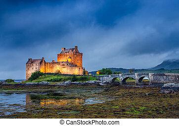 wzgórza, scottish, zachód słońca, donan, zamek, eilean, prospekt