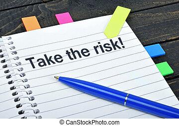 wziąć, ryzyko, słowo, na, notatnik