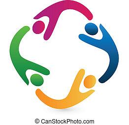 wzmacniacz, pojęcie, handlowy, zjednoczenie, logo, ikona