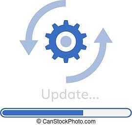 wzniesienie, software zaprogramowują, aktualizować, ikona