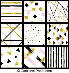 wzory, abstrakcyjny, komplet, metaliczny