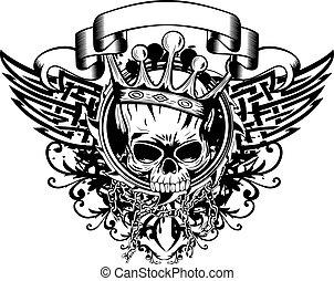 wzory, abstrakcyjny, korona, czaszka