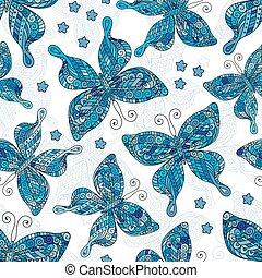 wzory, butterflies., seamless, tło., motyle, różny, białe kwiecie