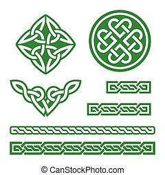 wzory, celtycki, zielony, węzły
