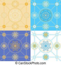 wzory, geometryczny, komplet, seamless