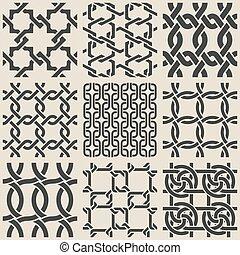 wzory, geometryczny, komplet, seamless, monochromia
