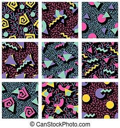wzory, geometryczny, komplet, wibrujący