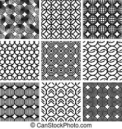 wzory, geometryczny, seamless, set.