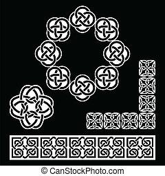 wzory, irlandzki, czarnoskóry, celtycki
