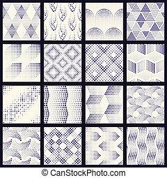 wzory, komplet, kropkowany, halftone