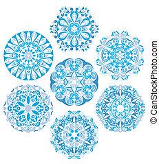 wzory, komplet, okrągły, gzhel
