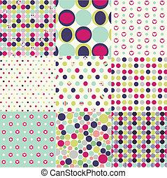 wzory, komplet, polka, seamless, kropka