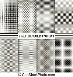 wzory, komplet, seamless, halftone
