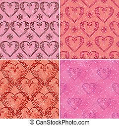 wzory, komplet, seamless, serca, valentine