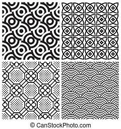wzory, komplet, seamless, (vector)