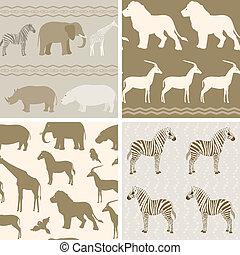 wzory, komplet, zwierzęta, afrykanin