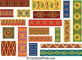 wzory, krajowy, etniczny, upiększenia, afrykanin