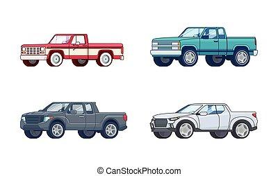 wzory, pickup samochód, barwny, zbiór
