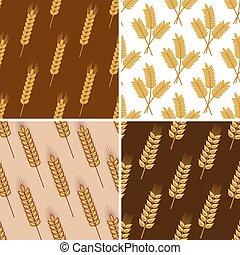 wzory, pszenica, seamless, zboże, kłosie