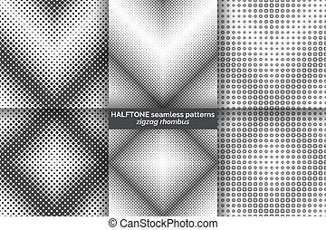 wzory, seamless, halftone, komplet
