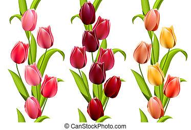 wzory, seamless, pionowy, tulipany