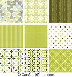 wzory, seamless, zbiór, retro