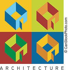 wzory, wysoki, mieszkaniowy, kontrast