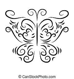 wzorzysty, motyl, izolować, zwija