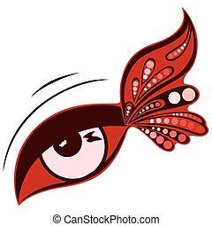 wzorzysty, motyl, oko, barwa, ludzki, skrzydło