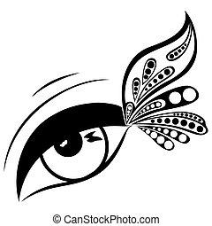 wzorzysty, motyl, oko, skrzydło, ludzki