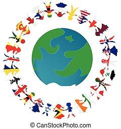wzorzysty, pojęcie, ludzie, kula, świat, bandery, dzierżawa wręcza, ziemia, peacce