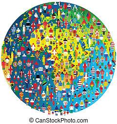 wzorzysty, pojęcie, ludzie, kula, pokój, bandery, ziemia