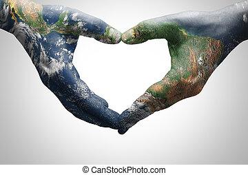 wzorzysty, serce, kobieta, mapa, nasa), młody, formując, siła robocza, świat, (furnished