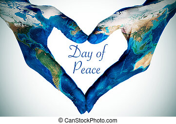wzorzysty, serce, mapa, formując, siła robocza, pokój, tekst, nasa), świat, (furnished, dzień