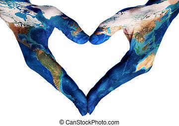 wzorzysty, serce, mapa, nasa), siła robocza, formując, świat, (furnished