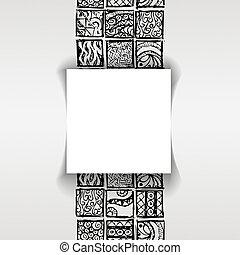 wzorzysty, styl, maya, rzeźnik, tło