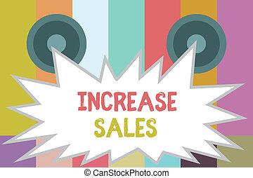 wzrastać, produkt, pojęcie, słowo, handlowy, tekst, sprzedany, klientela, pisanie, sales., wzrost, boosting, handel