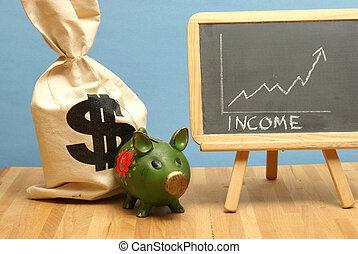 wzrastać, wykres, dochód