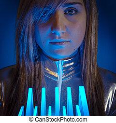 wzrokowy, kobieta, nowoczesny, światła, pojęcie, keyboard., włókno