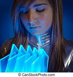 wzrokowy, kobieta, nowoczesny, światła, pojęcie, włókno, technology.