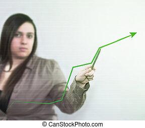 wzrost, diagram, handlowy, tło